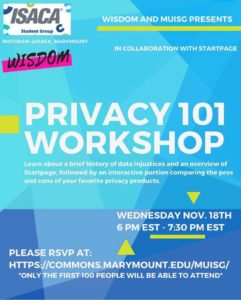 MUISG Update 2021 Nov 18th Event Flyer on Privacy 101
